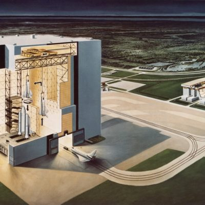 An artist's impression showing a cross section of the Vehicle Assembly Building at the Kennedy Space Center on Merritt Island, Florida, 10th January 1974. The booster vehicle for the space shuttle orbiter is already configured (left). On the right, the loading of the cargo bay payload takes place in the maintenance and checkout facility. (Photo by Space Frontiers/Getty Images)